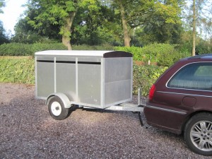 The livestock trailer safely collected from Wales and delivered to our home