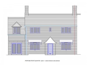 The front elevation of our house and the proposed side extension